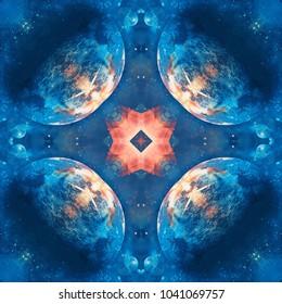 Universe background. Kaleidoscope seamless pattern.
