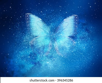 Universe filled with stars, butterfly