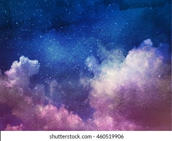 Universe filled with stars, clouds and galaxy. Watercolor