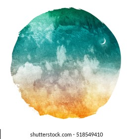 Universe filled with stars and moon isolated on white. Watercolor