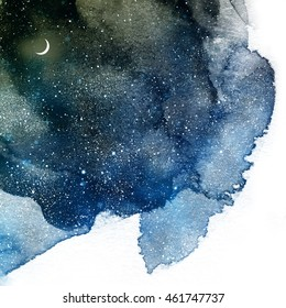 Universe filled with stars and moon. Watercolor
