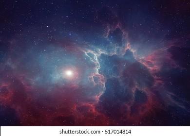 Vesmír plný hvězd, mlhoviny a galaxie