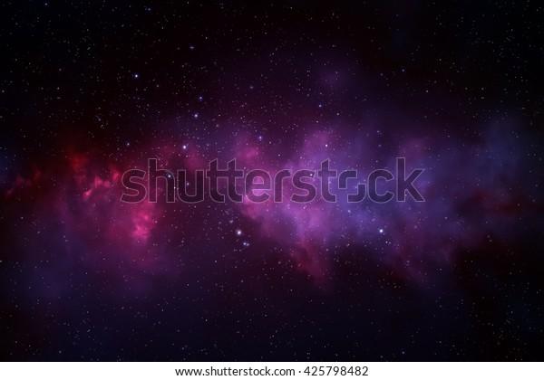 Universe filled with stars, nebula and galaxy