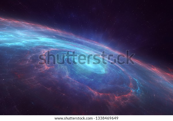 Universe with a spiral spinning galaxy in the center