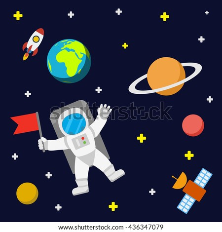universe template background spaceman satellite outer stock