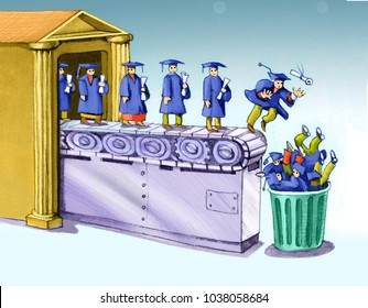 from a university a conveyor belt leads graduates directly into the garbage can