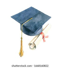 university graduate hat with diploma graduate degree painted in watercolor illustration by hand on paper