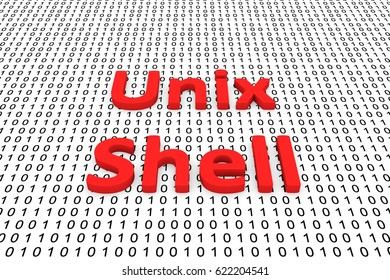 Unix Shell in the form of binary code, 3D illustration