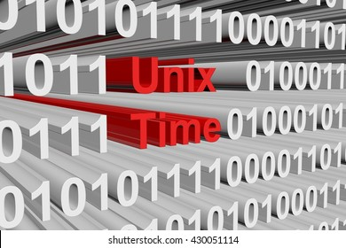 Unix time in binary code, 3D illustration