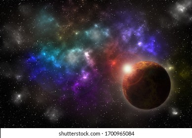Unknown planet from outer space. Space nebula. Cosmic cluster of stars. Outer space background