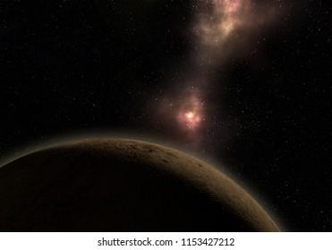 Unknown planet. Space exploration.  3D Illustration.