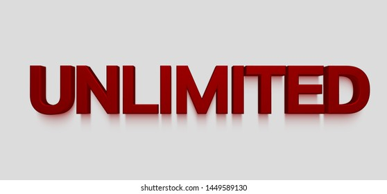 UNLIMITED 3d red lettering on white background, illustration