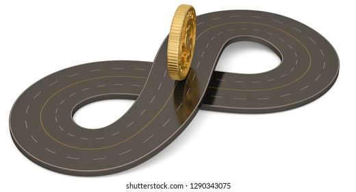 Unlimited symbol shape road and gold coin  isolated on white background. 3D illustration.