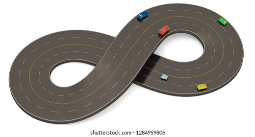 Unlimited symbol shape road isolated on white background. 3D illustration.