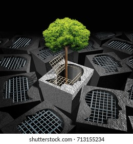Unlock personal development psychology concept as an open cage shaped as a human head with a tree as a coming out symbol or freedom and imagination metaphor with 3D illustration elements.