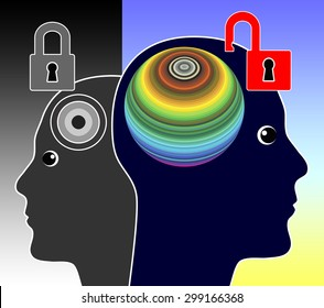 Unlock your Mind. Concept sign of a genius person unleashing his creative potentials