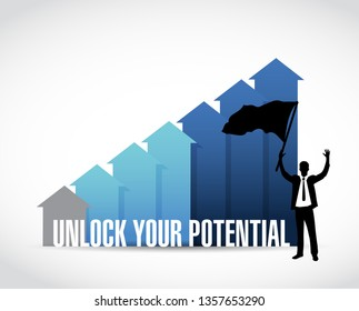 Unlock Your Potential business graph illustration design over a white background