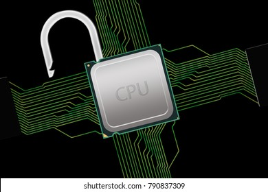 Unlocked CPU with Circuit Connections -  Illustration of a CPU within a circuit which has been unlocked either to improve performance or to hack due to the Meltdown Security Flaw.