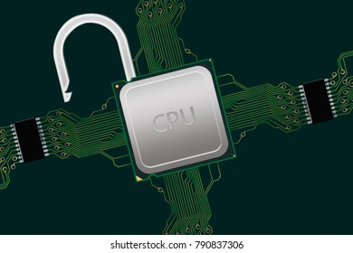 Unlocked CPU in Circuit - Illustration of a CPU within a circuit which has been unlocked either to improve performance or to hack due to the Meltdown Security Flaw.