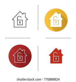 Unlocked house icon. Flat design, linear and glyph color styles. Home protection. House with open padlock inside. Isolated raster illustrations