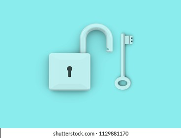 Unlocked padlock with key. Minimalist style concept for business, careers, key to success, unlocking potential and security, 3D rendering