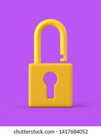 Unlocked yellow keyhole padlock on a purple background. 3d render. Front view. Kitsch Art Series.