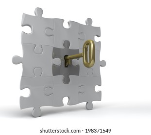 Unlocking puzzle on wall Key unlocks jigsaw piece in a wall. 3D rendered on white background.