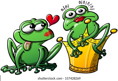 Unlucky and disconcerted princess turned into a frog after having kissed a toad instead of having the toad turned into a charming and madly in love prince