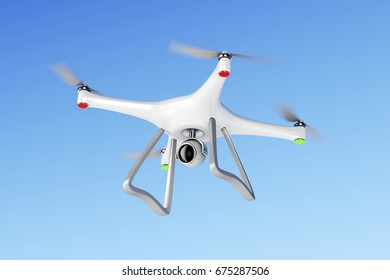Unmanned aerial vehicle (drone) flying in the sky, 3D illustration