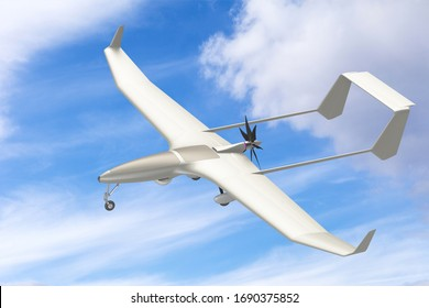 Unmanned military drone uav on patrol air territory at low altitude. 3D render