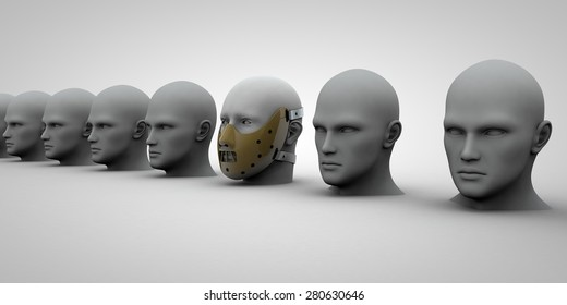 Unmasked heads in a row with a masked head in the middle