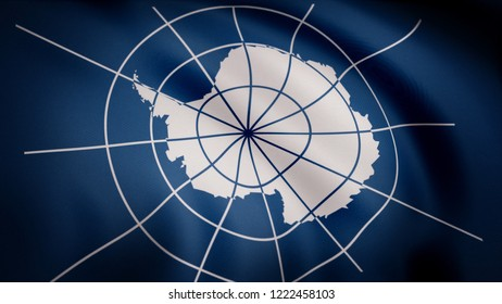 Unofficial flag of Antarctica. Realistic waving in wind flag of Antarctica with detailed texture of fabric. Close-up animation of Antarctica flag with superimposed meridian image