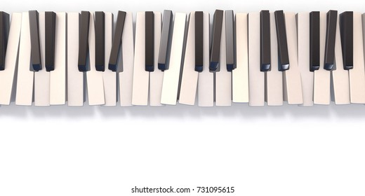 Unordered abstract piano keyboard 3D render illustration isolated on white background.