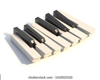 Unordered abstract piano keyboard one octave 3D render illustration isolated on white background