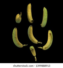Unpeeled whole banana fruit black background multiple angles 3d render