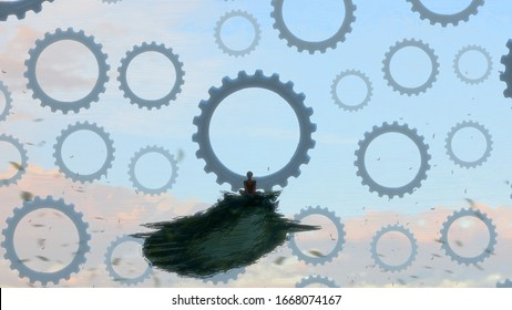 Unreal. Surreal scene. Modern art. Person on edge. Drawing. Lonely human. Philosophical. Mechanism gear. 2d illustration. Standing Alone. Fictional.