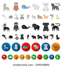 An unrealistic animal cartoon icons in set collection for design. Toy animals bitmap symbol stock web illustration.