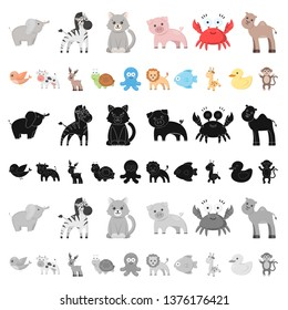 An unrealistic cartoon animal icons in set collection for design. Toy animals bitmap symbol stock web illustration.