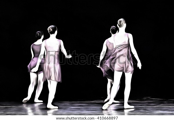 unrecognizable ballet dancers drawing filter