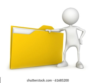 Unrecognizable small people with file. 3D high quality render. Image isolated on white background.