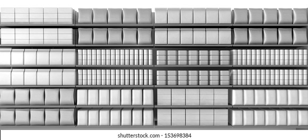 A unsaturated front view of a few sections of supermarket shelving with generic products packed into them