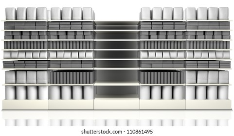 A unsaturated front view of five sections of supermarket shelving with generic products packed into them and one empty one
