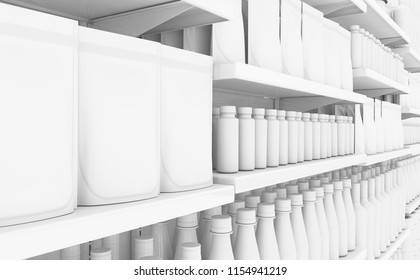 An unsaturated view of a few sections of a supermarket shelf packed with generic consumable products - 3D render