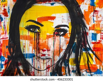 The unseen emotions of her innocence is an acrylic painting, Ink and Watercolor on Canvas of a young women crying colors.