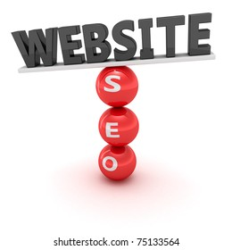 "Unstable construction of black word ""Website"" on the red spheres with word  ""SEO"""
