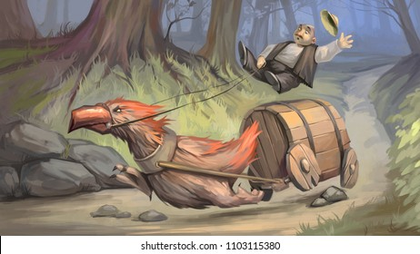 Unstoppable. Digital painting. Illustration with fantasy animal and man on barrel in forest.