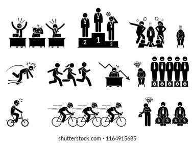 Unsuccessful and failure businessman. Pictogram depict a loser and laggard person. He is being slow, lousy, and perform badly in every work and competition. The man is left out and behind his peers.