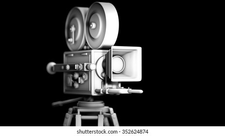 Untextured retro movie camera isolated on black