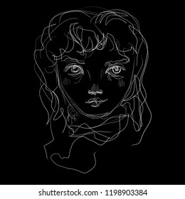 Untidy contour drawing of a woman's head