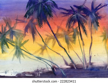Untouched tropical beach. Sunset. Watercolor.